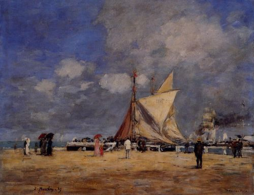 Deauville, on the Jetty by Eugène Boudin