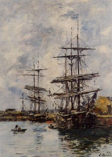 Deauville, Ships at Dock by Eugène Boudin