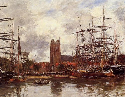 Dordrecht, View of the Port by Eugène Boudin