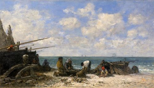 Etretat - Fishermen on the Beach by Eugène Boudin