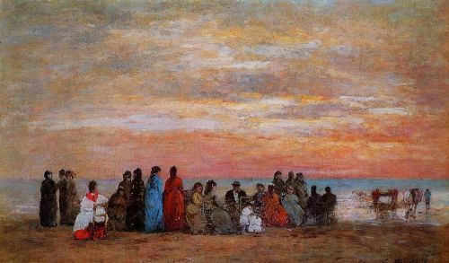 Figures on the Beach at Trouville by Eugène Boudin
