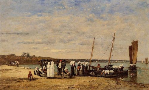 Fishermen of Kerhor Receiving a Blessing at Plougastel by Eugène Boudin