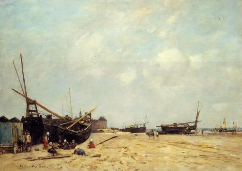 Fishing Boats Aground and at Sea by Eugène Boudin