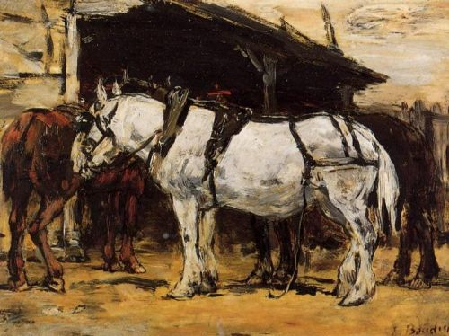 Harnessed Horses by Eugène Boudin