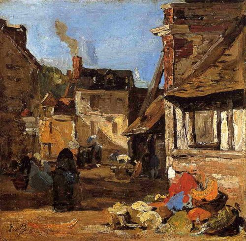 Honfleur, the Saint Catherine Market Place by Eugène Boudin