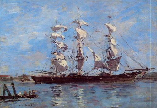 Honfleur, Three Master in Port by Eugène Boudin