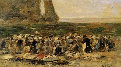 Laundresses at Etretat by Eugène Boudin