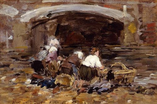Laundresses near a Bridge by Eugène Boudin