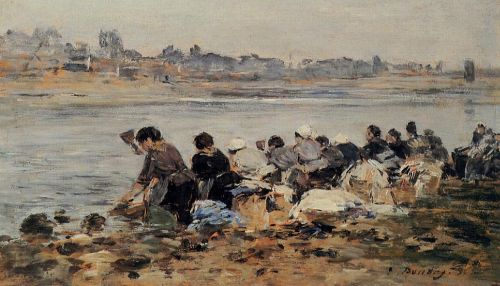 Laundresses on the Bankes of the Touques by Eugène Boudin