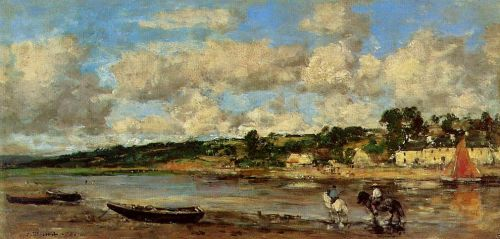 Le Faou, Banks of the River by Eugène Boudin
