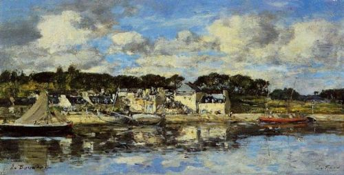 Le Faou, The Village and the Port on the River by Eugène Boudin