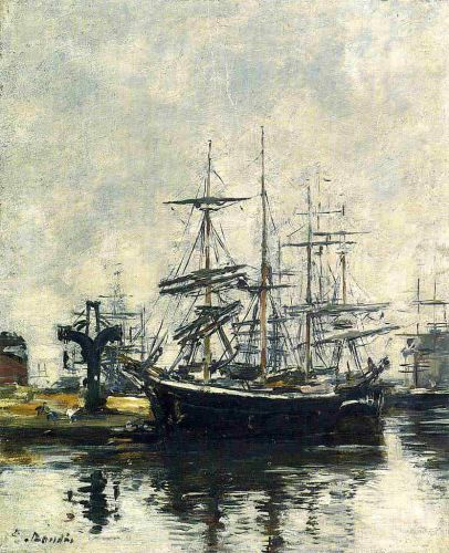 Le Havre, Sailboats at Dock, Basin de la Barre by Eugène Boudin