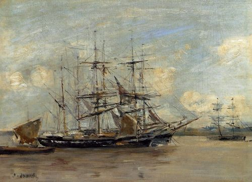 Le Havre, Three Master at Anchor in the Harbor by Eugène Boudin