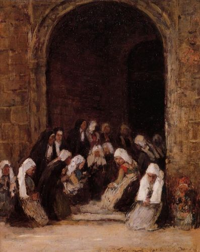 Leaving Mass in Brittany by Eugène Boudin