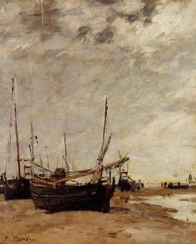 Low Tide, Grounded Sailboats by Eugène Boudin