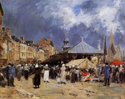 Market at Trouville by Eugène Boudin