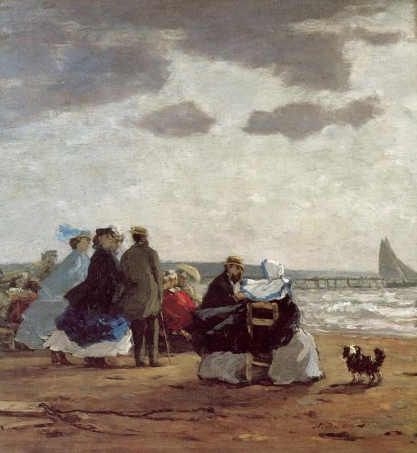 On the Beach, Dieppe by Eugène Boudin