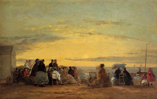On the Beach, Sunset by Eugène Boudin