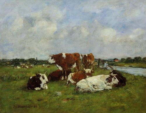 Pasturage on the Banks of the Touques by Eugène Boudin