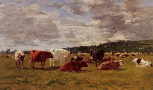 Pasture at Deauville by Eugène Boudin