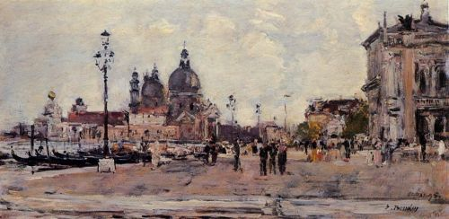 Pier in Venice by Eugène Boudin