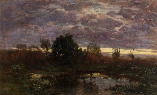 Pond at Sunset by Eugène Boudin