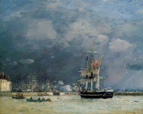 Port du Le Havre, in the Evening by Eugène Boudin