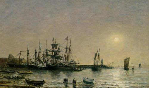 Portrieux, Boats at Anchor in Port by Eugène Boudin