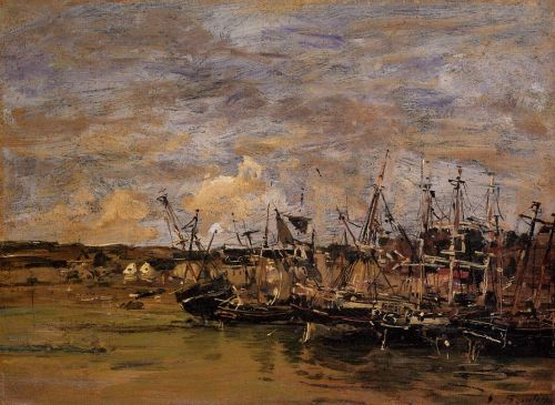 Portrieux, Fishing Boats at Low Tide by Eugène Boudin