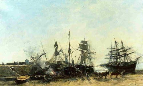 Portrieux, the Port at Low Tide, Unloading Fish by Eugène Boudin