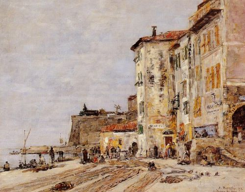 Quay at Villefranche by Eugène Boudin