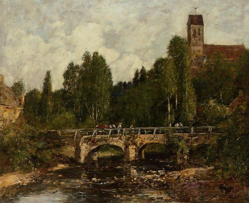 Saint-Cenery, the Church and the Bridge by Eugène Boudin