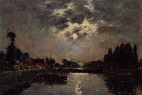 Saint-Valery-sur-Somme, Moonrise over the Canal by Eugène Boudin