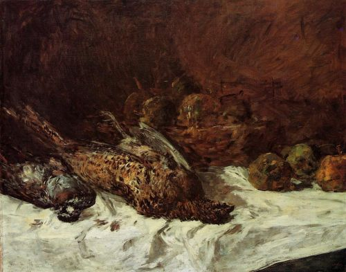 Still Life with Pheasant and Basket of Apples by Eugène Boudin