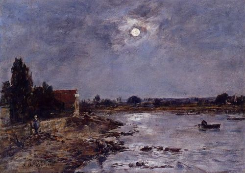 The Banks of the Touques - Moonlight by Eugène Boudin