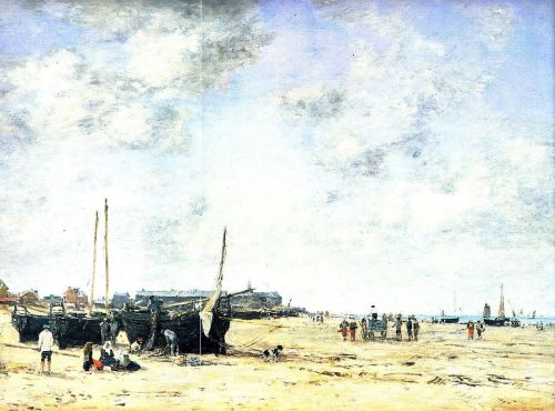 The Beach at Berck by Eugène Boudin