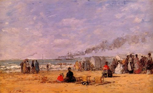 The Beach at Trouville by Eugène Boudin