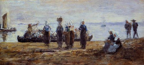 The Ferry at Plougastel by Eugène Boudin