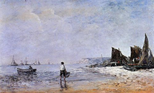 The Fisherman, Low Tide by Eugène Boudin