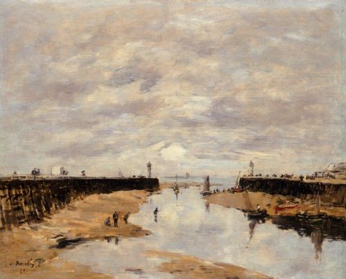 The Jettys, Low Tide, Trouville by Eugène Boudin