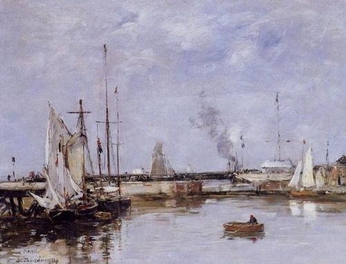 The Lock at Trouville by Eugène Boudin