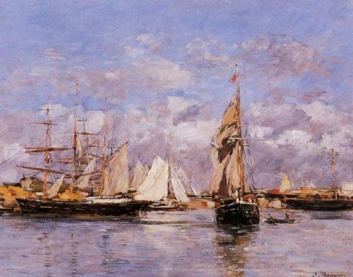 The Port of Trouville, High Tide by Eugène Boudin