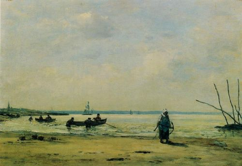 The Shore at Low Tide near Honfleur by Eugène Boudin