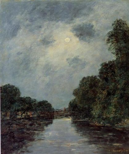 The Somme near D'Abbeville - Moonlight by Eugène Boudin
