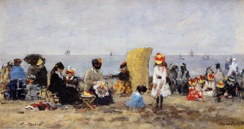 Trouville, Beach Scene by Eugène Boudin