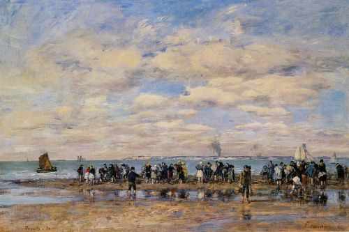 Trouville, the Beach at Low Tide by Eugène Boudin