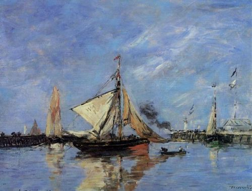 Trouville, the Jettys, High Tide by Eugène Boudin