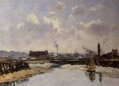 Trouville, the Port, Low Tide, Morning by Eugène Boudin