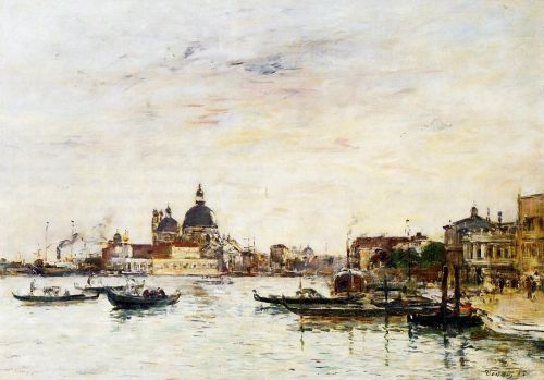 Venice, the Mole at the Entrance of the Grand Canal and the by Eugène Boudin