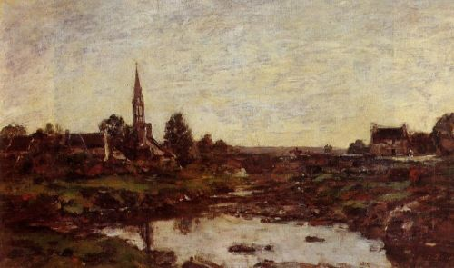 Village in Brittany by Eugène Boudin